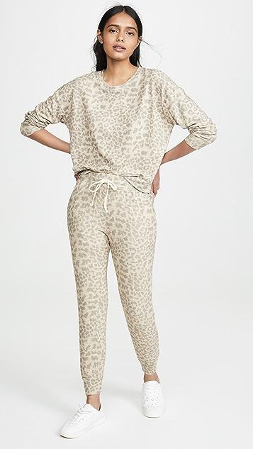 SUNDRY 豹纹印花慢跑长裤