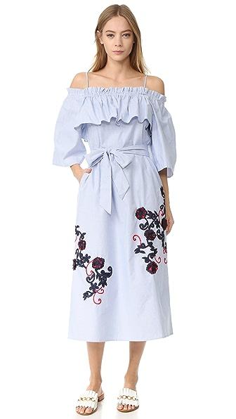 SUNO 露肩式喇叭连衣裙