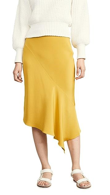 TSE Cashmere 垂褶设计斜裁半身裙