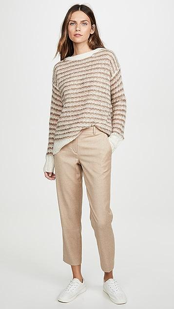 Theory 羊驼毛条纹套头衫