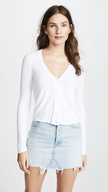 Three Dots 罗纹短款开襟衫
