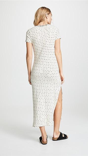 Three Dots 条纹 T 恤式连衣裙