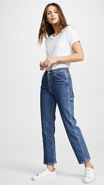 3x1 玫瑰图案五口袋工装牛仔裤