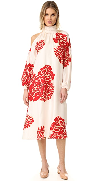 Tibi 不对称镂空 Orla Bloom 连衣裙
