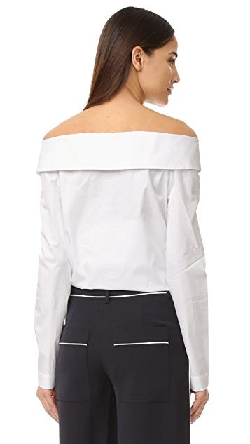 Tibi 缺角设计露肩式系扣衬衫