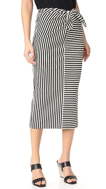 Tibi Ren 条纹前绑带半身裙/连衣裙