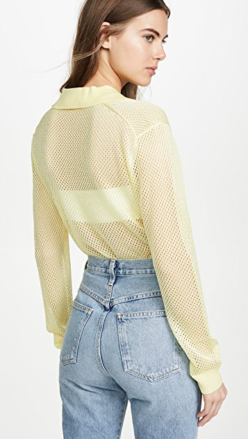 Tibi 马球衫衣领网面套头衫
