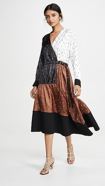 Tibi 拼接裹身式连衣裙