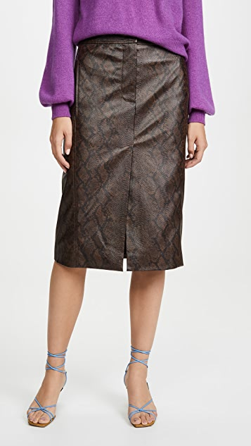 Tibi 蟒蛇纹半身裙