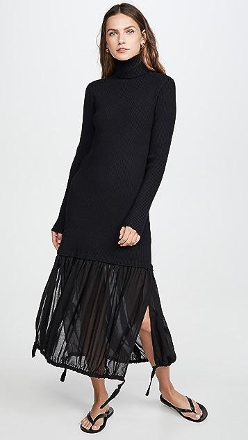 Tibi 羊毛薄纱分层罗纹连衣裙