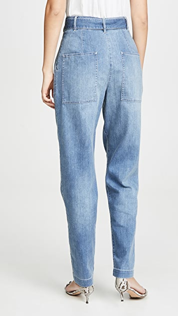 Tibi 牛仔布挺括褶皱裤