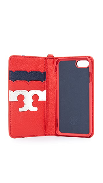 Tory Burch iPhone 7 扇形饰边 T 形对折护套