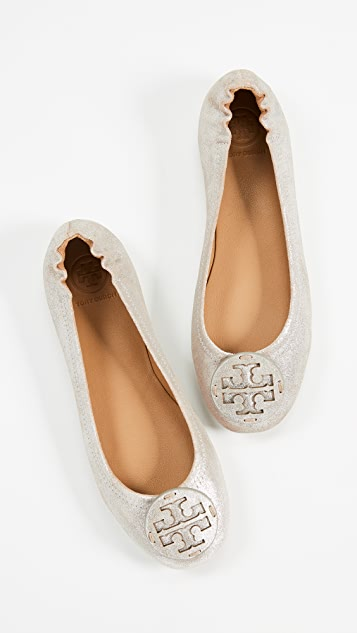 Tory Burch Minnie Travel 徽标平底芭蕾舞鞋