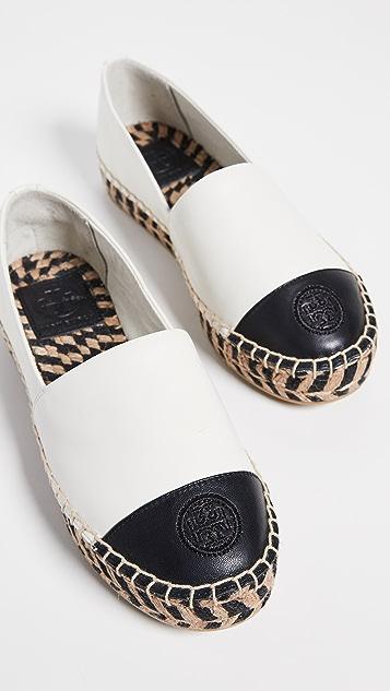 Tory Burch 拼色编织厚底便鞋