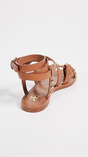 Tory Burch Ravello 铆钉脚踝环绕式凉鞋