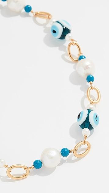 Tory Burch 玻璃珍珠和魔眼短项链