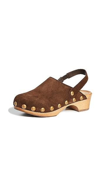 Tory Burch 50mm Blythe 铆钉装饰木底鞋