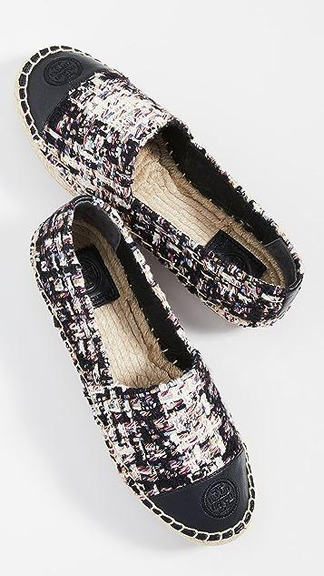 Tory Burch 拼色编织底便鞋