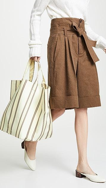 商标 条纹大号手提袋