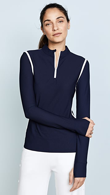 Tory Sport Parallel 条纹反光四分之一拉链套头衫