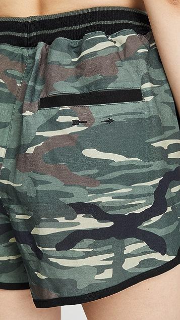 The Upside 军绿迷彩亚麻短裤