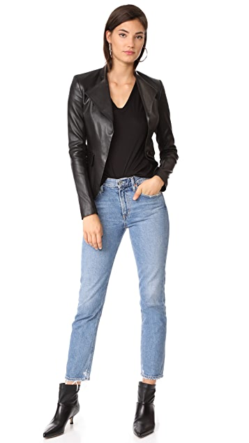 Veronica Beard Jean Cindy V 领高低不对称下摆 T 恤
