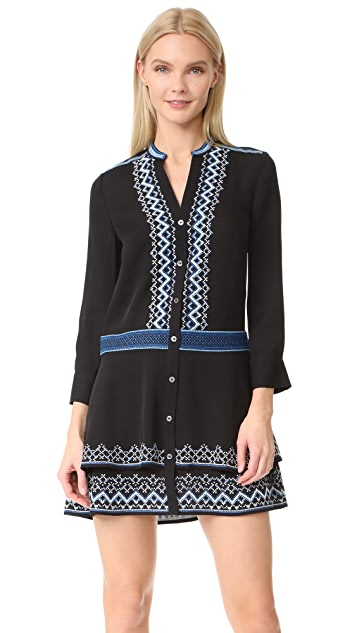 Veronica Beard Sloane 双层褶刺绣连衣裙