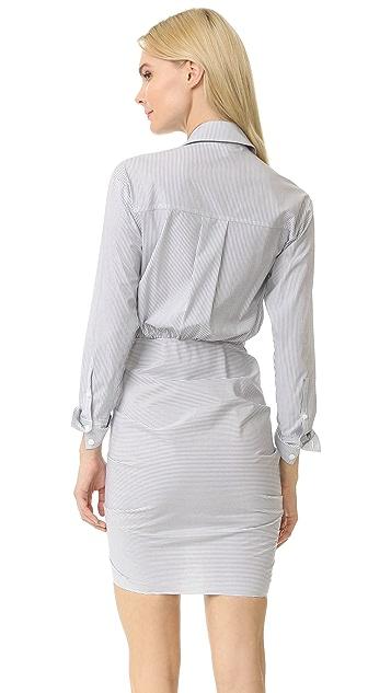 Veronica Beard Sierra 条纹衬衣连衣裙