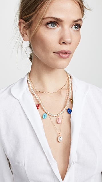 Venessa Arizaga 彩虹贝壳施华洛世奇水晶珍珠项链