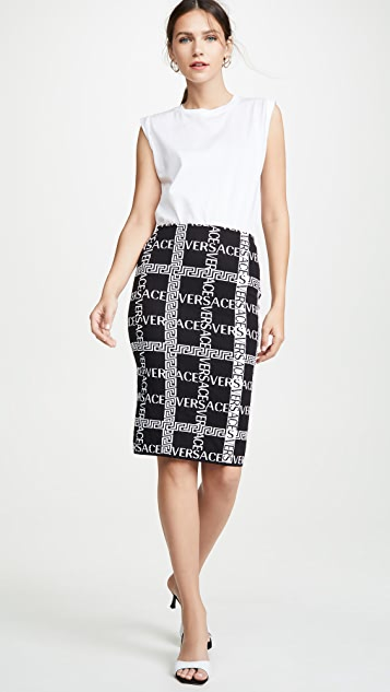 Versace 标志格子铅笔裙