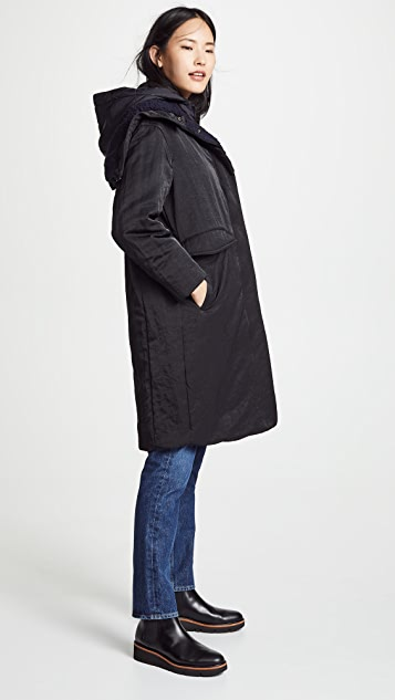 Vince 混合材质夹棉大衣