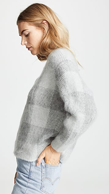 Vince 格子圆领毛衣