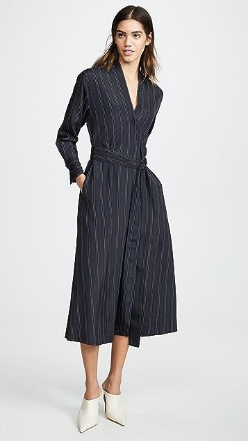 Vince 醒目条纹系腰带 V 领连衣裙