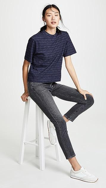 Vince 靛蓝色条纹宽袖短款 T 恤