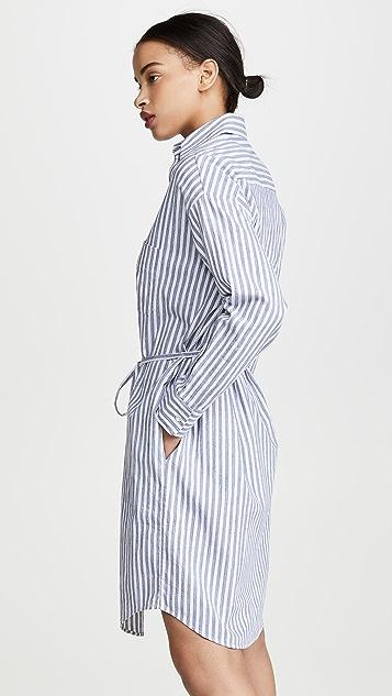 Vince 超大段染条纹衬衣连衣裙