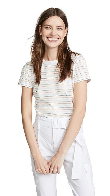 Vince 多色条纹基本系列圆领 T 恤