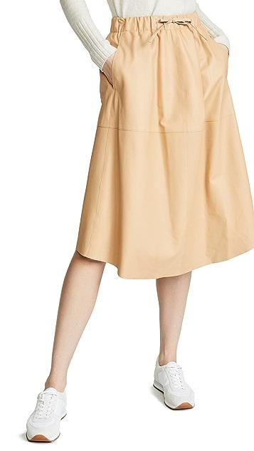 Vince 皮拼片半身裙