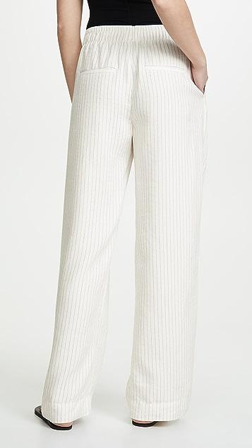 Vince 铅笔条纹松紧裤子