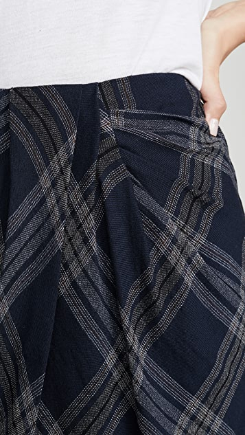 Vince 纹理格子垂褶半身裙
