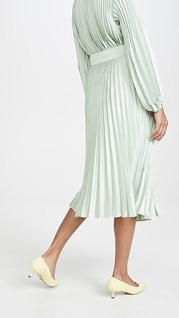 Vince 混合材质裥褶半身裙