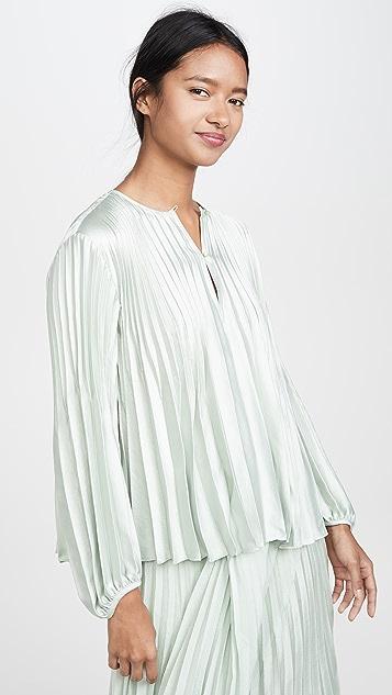 Vince V 形褶皱女式衬衫