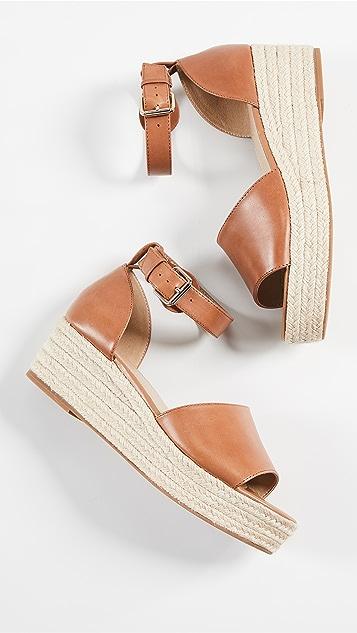 Villa Rouge Arianna 编织底坡跟绑带凉鞋
