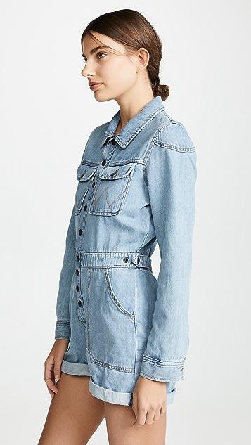 Wrangler 牛仔布短款连身衣