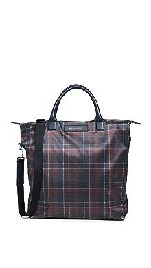 WANT LES ESSENTIELS Shopper Tote Bag,Navy Tartan