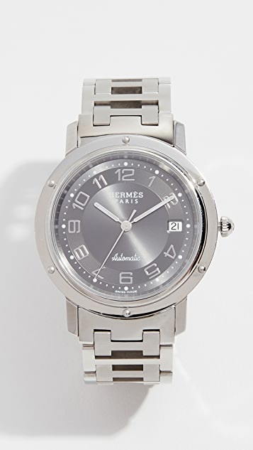 What Goes Around Comes Around Hermes Grey Clipper GM 腕表,38 毫米