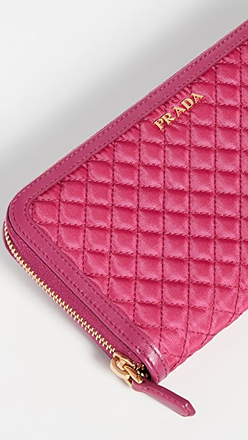 What Goes Around Comes Around Prada Pink Tessuto 全拉链钱包