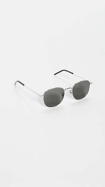 Saint Laurent 经典柔软方形金属太阳镜