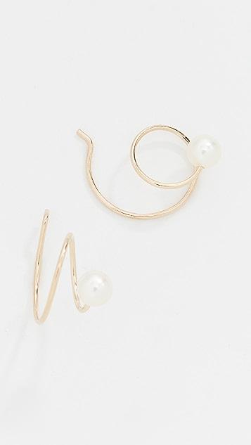 Zoe Chicco 14K 金淡水养殖珍珠涡纹耳环