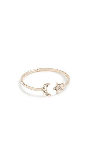 Zoe Chicco 14k 金色星星和月亮钻石戒指