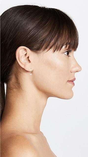 Zoe Chicco 14k 珍珠吊坠小号贴耳式耳环